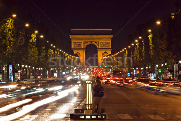Arc de Triomphe nacht leidend Parijs Frankrijk Stockfoto © ErickN