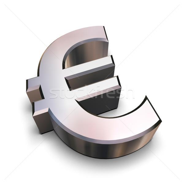 3D chrome euros symbole isolé blanche Photo stock © ErickN