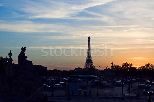 Foto stock: Pôr · do · sol · Torre · Eiffel · silhueta · Paris · França · nuvens