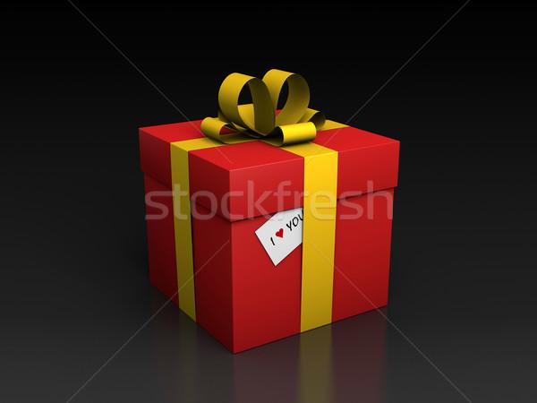 Coffret cadeau amour carte saint valentin rendu 3d heureux Photo stock © ErickN