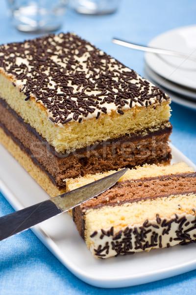 Olasz piskóta csokoládé tömés fehér étel Stock fotó © ErickN