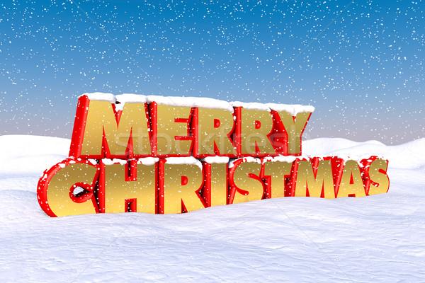 Joyeux Noël rouge or neige Photo stock © ErickN