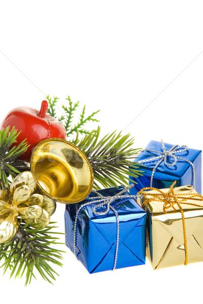 Noël décoration sapin branche cadeaux décorations Photo stock © ErickN