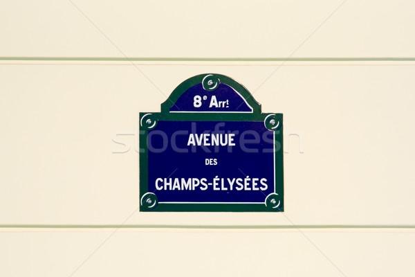 Champs-Elysees street plate Stock photo © ErickN