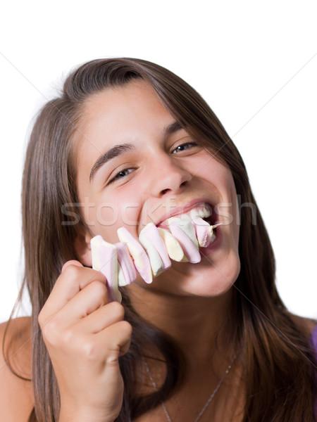 Joli jeune femme manger bâton femme fille Photo stock © ErickN