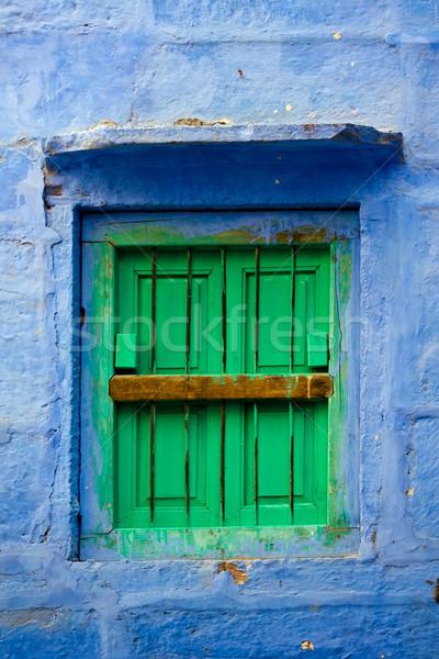 синий стены зеленый жалюзи Сток-фото © ErickN