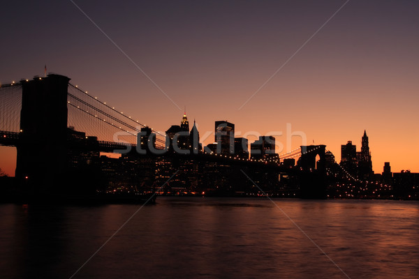 Brooklyn Bridge silhouette Stock photo © ErickN