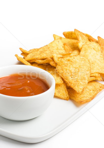 Tortilla chips taza mexicano chile salsa Foto stock © ErickN