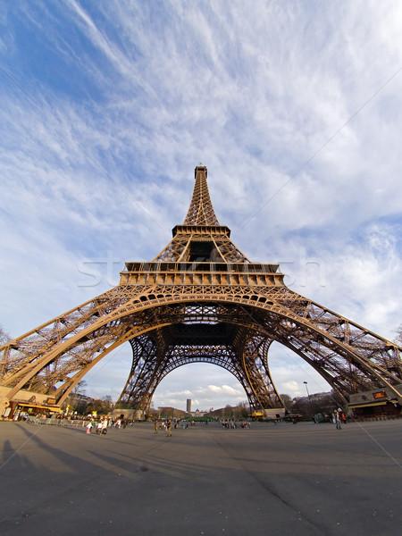 Эйфелева башня рыбий глаз мнение Париж Франция Сток-фото © ErickN