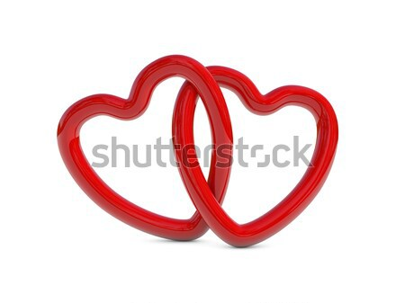 Czerwony serca pierścienie dwa 3d szczęśliwy Zdjęcia stock © ErickN