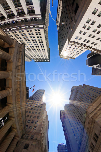 Wall street fisheye view edifici New York City USA Foto d'archivio © ErickN