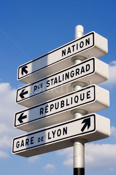 парижский инструкция улице признаков Париж Франция Сток-фото © ErickN