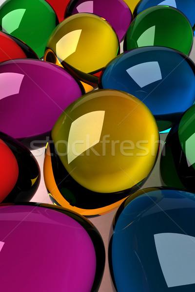 œufs de Pâques coloré verre 3D Pâques Photo stock © ErickN