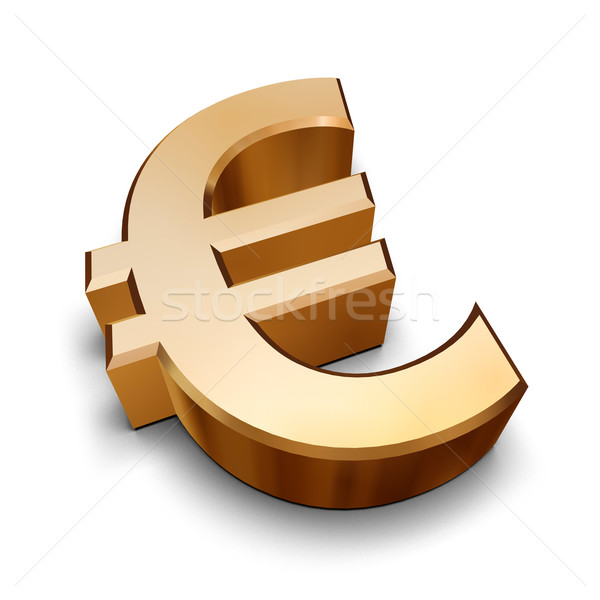 3D or euros symbole isolé blanche Photo stock © ErickN
