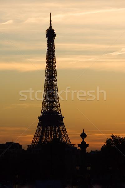 Zonsondergang Eiffeltoren silhouet Parijs Frankrijk wolken Stockfoto © ErickN