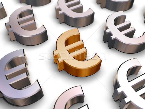 Foto stock: 3D · euros · símbolos · dorado · símbolo · muchos