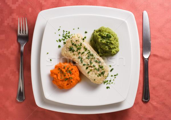 Filet carottes élégante dîner plaque poissons Photo stock © ErickN
