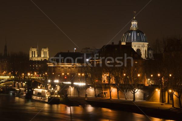 Paris nuit vue rivière cathédrale français Photo stock © ErickN