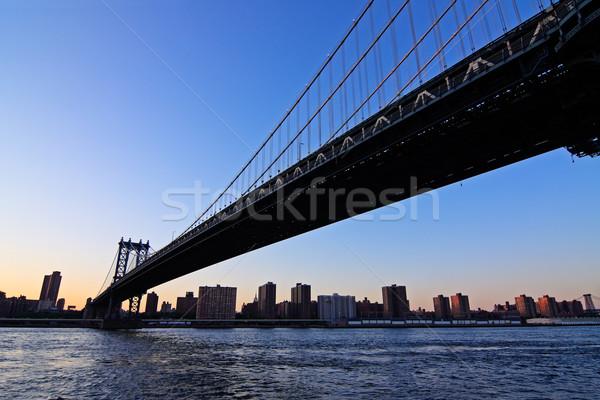Manhattan моста сумерки Skyline Нью-Йорк США Сток-фото © ErickN