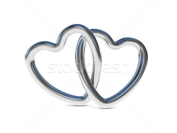 Intertwined silver heart rings Stock photo © ErickN