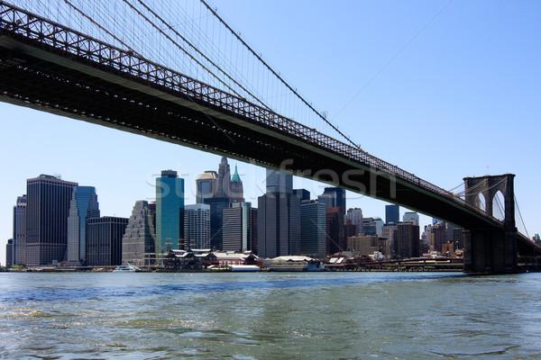 Foto stock: Manhattan · linha · do · horizonte · ponte · New · York · City · EUA