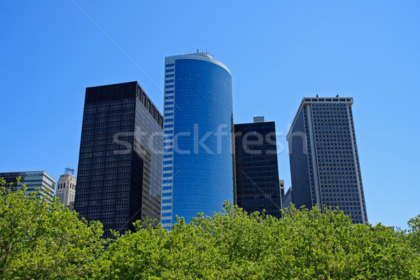 Manhattan financial district binalar pil park New York Stok fotoğraf © ErickN