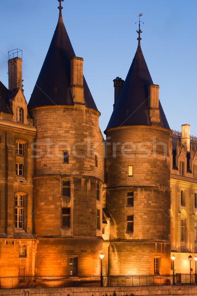 La zmierzch widoku starych średniowiecznej Paryż Zdjęcia stock © ErickN