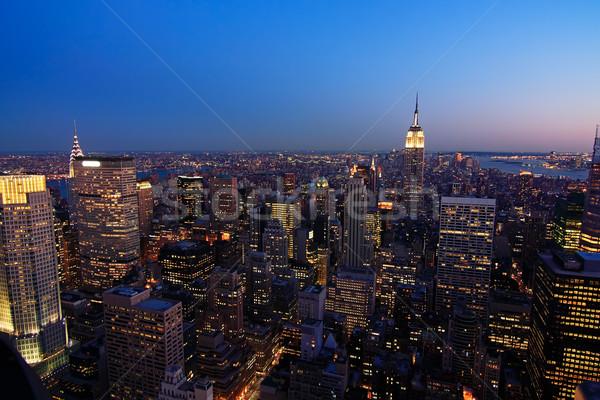 Stok fotoğraf: Düşük · Manhattan · akşam · karanlığı · Cityscape · üst