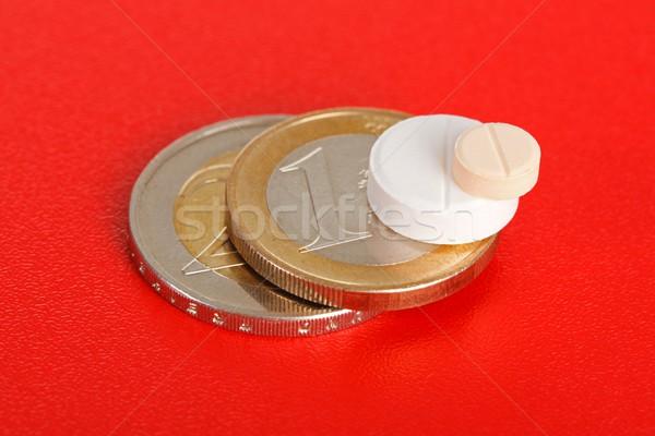 Macro of two pills on top of euro coins Stock photo © erierika