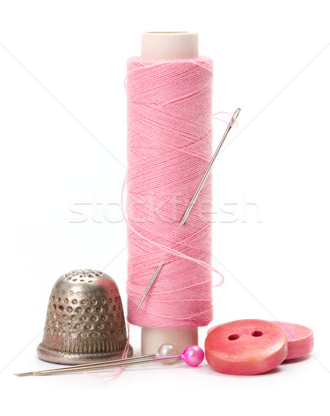 Coser hilo aguja dedal rosa Foto stock © erierika