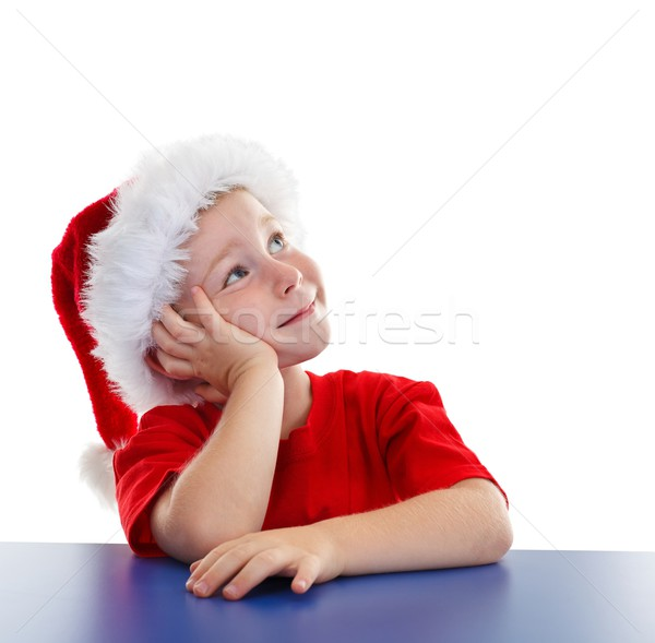 Boy in Santa hat, looking to copy space Stock photo © erierika