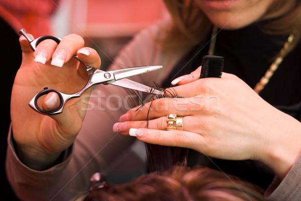 Cabelo estilista trabalhar tesoura moda Foto stock © erierika