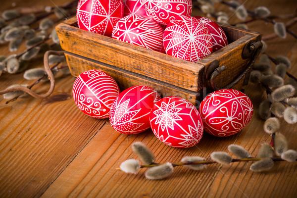 Tradicional mão escrito ovos ovos de páscoa bichano Foto stock © erierika