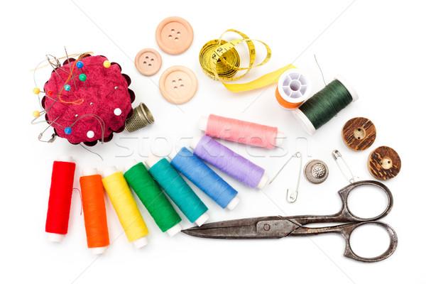 Naaien uitrusting schaar meetlint tools staal Stockfoto © erierika