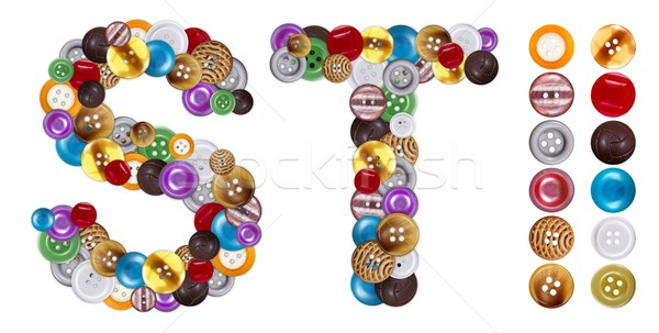 Characters S and T made of clothing buttons Stock photo © erierika