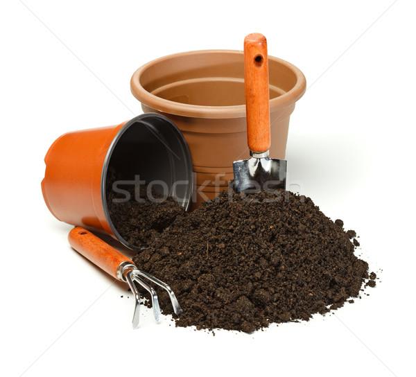 Pots, gardening tools and dirt Stock photo © erierika