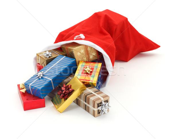ストックフォト: プレゼント · サンタクロース · 袋 · カラフル · クリスマス