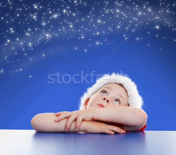 Mały chłopca nieba kopia przestrzeń Zdjęcia stock © erierika