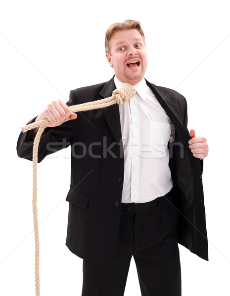 Desperate businessman with gallow rope Stock photo © erierika