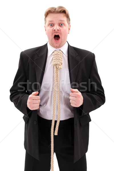 Businessman with gallow rope in neck Stock photo © erierika