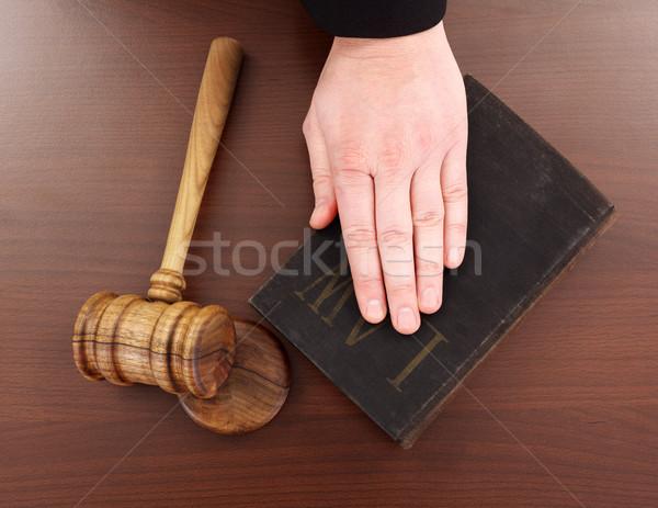 Mão lei livro gabela Foto stock © erierika