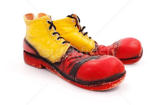 Foto stock: Palhaço · sapatos · grande · branco · diversão · sapato