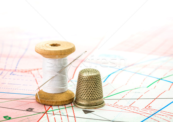 Sewing thread and thimble on pattern cutting Stock photo © erierika