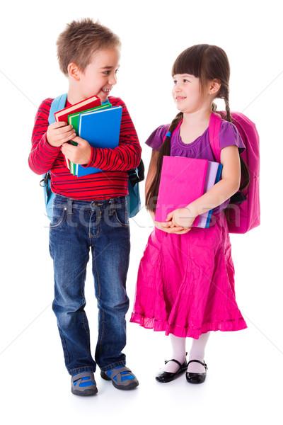Cute weinig schoolmeisje schooljongen permanente Stockfoto © erierika