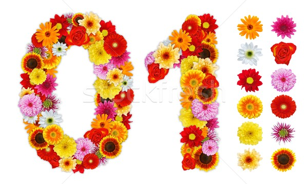Numbers 0 and 1 made of various flowers Stock photo © erierika