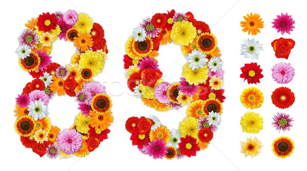 Numbers 8 and 9 made of various flowers Stock photo © erierika