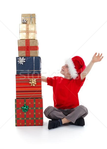 小さな 子 歓喜 プレゼント 少年 ストックフォト © erierika
