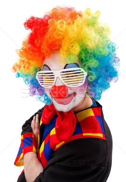 Clown biały funny migawka okulary uśmiechnięty Zdjęcia stock © erierika