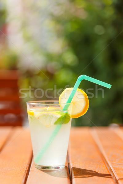 レモネード スカッシュ レモンスライス 冷たい アイスキューブ ガラス ストックフォト © erierika