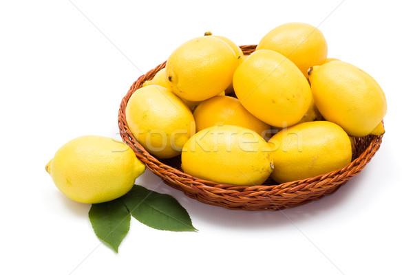新鮮な レモン 木製 トレイ ジューシー フルーツ ストックフォト © erierika